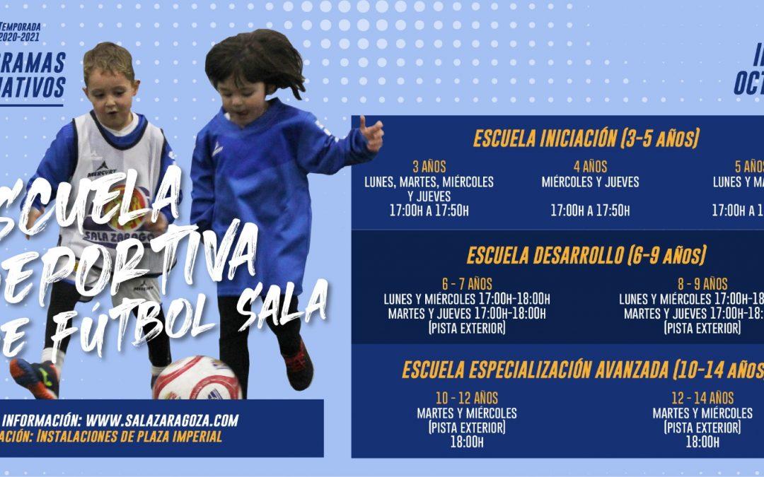 Abierto el plazo de inscripción de las escuelas de fútbol sala de Sala Zaragoza