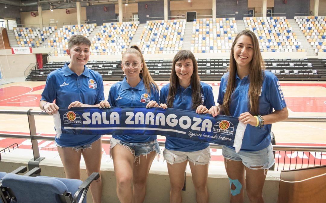 Antía Pérez, Maite García, Clara Rodríguez y Mirian Ruiz presentadas como nuevas jugadoras del Sala Zaragoza